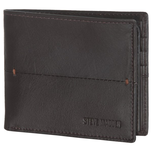 CLOSEOUTS . Decorative bar tacks and a dissecting stitch line add a note of style to Steven Maddenand#39;s Buck Bar passcase wallet. Fashioned from premium, supple leather, it has a handy thumb-glide window for easy removal of your ID. Available Colors: BROWN, BLACK.
