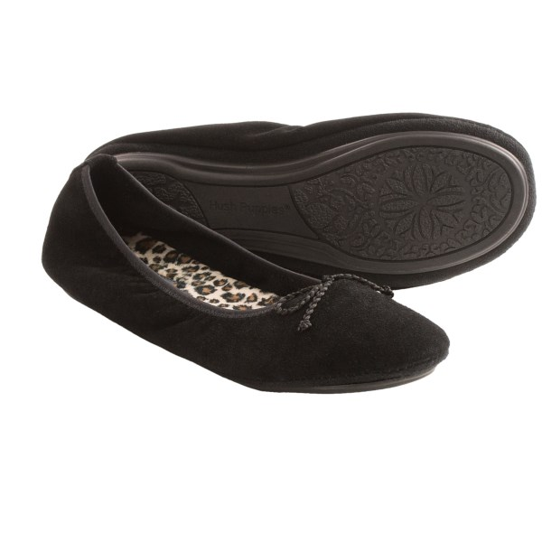 CLOSEOUTS . Simple and elegant, these skimmer-inspired Hush Puppies Lilac slippers line their low-profile silhouette with plush, foot-friendly fabric and finish strong with a foam-cushioned footbed. Available Colors: BLACK, ESPRESSO, CHESTNUT. Sizes: 6, 7, 8, 9, 10, 11.