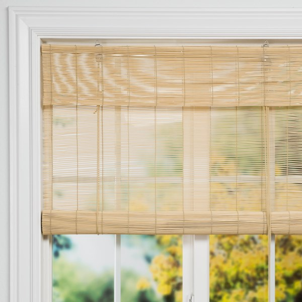 """CLOSEOUTS . Versailles Roman bamboo shades bring a natural calm to a living room, bedroom, dining room or enclosed porch. This versatile window treatment is a classic design that fashionably accompanies a wide variety of room decors.      May be painted     Dimensions (WxL):  60x72""""     Material:  Bamboo     Care:  Dust or vacuum clean    Made in China.     Available Colors: NATURAL, FRUIT WOOD, WILLOW, ANTIQUE WHITE, BLACK."""