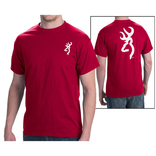 CLOSEOUTS . Show off the famous Buckmark logo by wearing this soft Browning SST Custom T-shirt, made of 100% cotton. Available Colors: NAVY W/GOLD 137 BUCKMARK, BLACK W/GOLD 137 BUCKMARK, INDEPENDENCE RED W/WHITE BUCKMARK, KELLY GREEN W/GOLD 137 BUCKMARK, HEATHER GREY W/RED BUCKMARK, KELLY GREEN W/CREAM BUCKMARK, TENNESSEE ORANGE W/WHITE BUCKMARK. Sizes: M, L, S, 2XL, XL.