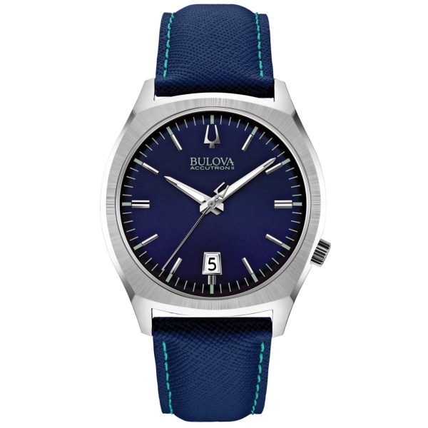 CLOSEOUTS . Aside from the fact that its gorgeous deep blue color makes a fabulous accompaniment to your denims, the Bulova Surveyor watch is engineered with revolutionary Ultra High Frequency technology. The three-prong quartz crystal produces a vibrational frequency eight times greater than standard quartz and is renowned for its continuously sweeping second hand. Available Colors: NAVY/NAVY.