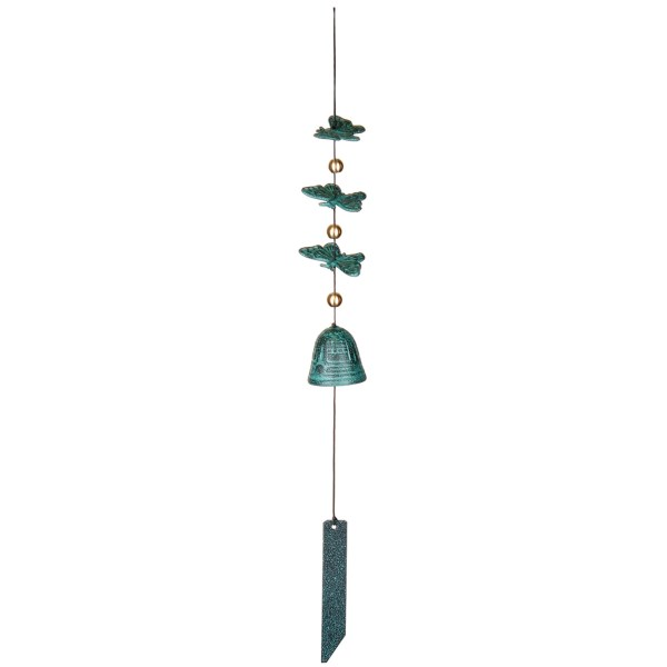 Overstock . This cascading flutter of butterflies in a copper-like green patina is not only lovely to look at, but makes the most delicate and pleasing sound when stirred by a breeze. Hang Woodstock Chimesand#39; Butterfly wind bell in any corner of your domicile and prepare to be delighted. Available Colors: VERDIGRIS ALUMINUM.