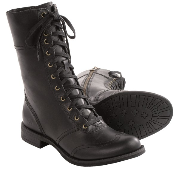 CLOSEOUTS . A durable lace-up for the modern woman, Timberland Earthkeepers Savin Hill boots feature a full-grain leather upper with a cap toe and a removable, anti-fatigue footbed for all-day comfort. Available Colors: BLACK. Sizes: 5.5, 6, 6.5, 7, 7.5, 8, 8.5, 9, 9.5, 10.