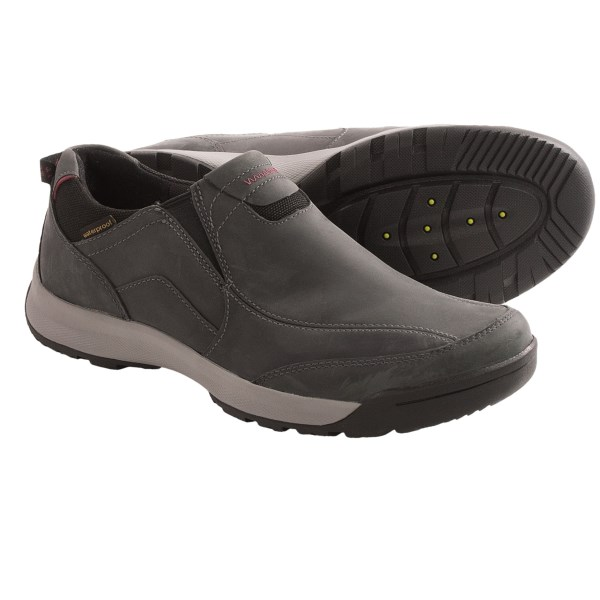 CLOSEOUTS . Clarks Wave.Scree Easy shoes offer relaxed slip-on style and all-weather construction. The waterproof nubuck upper features a friction-free lining and Wavewalkand#174; technology so you can pile up the miles in comfort. Available Colors: CHARCOAL. Sizes: 7, 7.5, 8, 8.5, 9, 9.5, 10, 10.5, 11, 11.5, 12, 13, 14, 15.