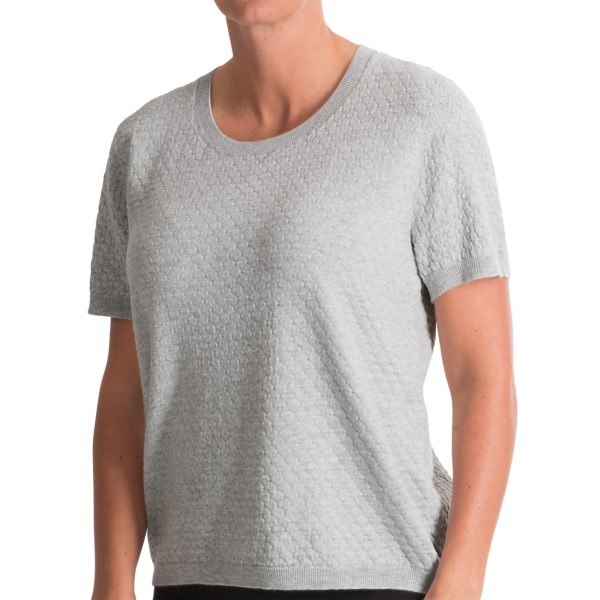 CLOSEOUTS . The diamond-stitched design of August Silkand#39;s cropped sweater lends dimension to the silky, beautifully draping fiber blend, providing oodles of texture to go with the hearty dose of chic style (the cropped, short-sleeve cut). Available Colors: BLACK, COTTON BALL, STARLIGHT HEATHER. Sizes: M, L, XL, 2XL, S.