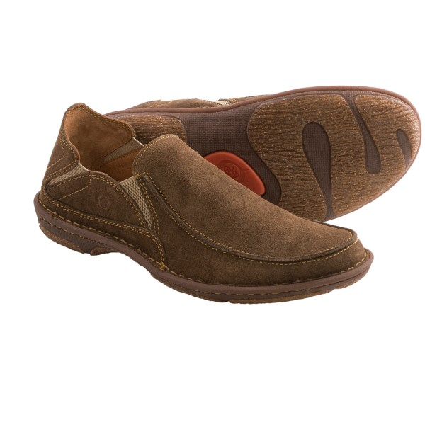 CLOSEOUTS . A relaxed, flexible slip-on with rugged appeal, Born Carsten shoes add a textured SEBS cork outsole to the Opanka stitched suede upper. Available Colors: CHOCOLATE MILK SUEDE. Sizes: 8.5, 9, 9.5, 10, 10.5, 11, 11.5, 12, 13.