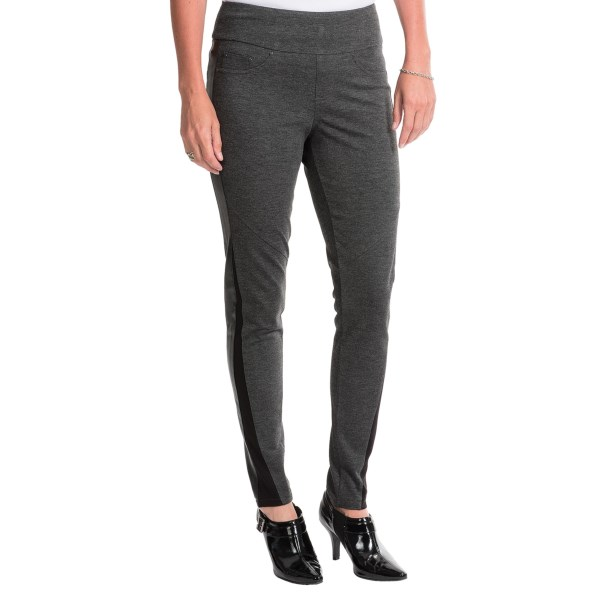 CLOSEOUTS . Part jegging, part sassy leather pant, JAGand#39;s Sky leggings infuse a stretchy, silky knit with faux-leather side panels and jeans-inspired detailing to pack a powerful punch oand#39; style (and lounge-worthy comfort, too, but we can keep that our little secret). Available Colors: CHARCOAL HEATHER. Sizes: 0, 2, 4, 6, 8, 10, 12, 14, 16.