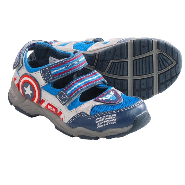 CLOSEOUTS . Designed after the first Avenger, the Stride Rite Captain America sandals sport a patriotic synthetic and mesh upper with a neat Captain America star that lights up with every step! Available Colors: BLUE/RED. Sizes: 9, 9.5, 10, 10.5, 11, 11.5, 12.