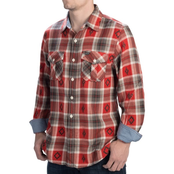 CLOSEOUTS . Stay comfortably warm when stepping out during the cool season with True Gritand#39;s Symbols shirt. The soft cotton plaid has contrast chambray detail and unique patterning. Available Colors: RED/BLACK. Sizes: S, M, L, XL, 2XL.