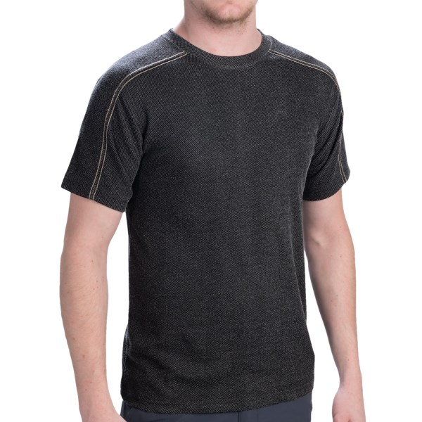 CLOSEOUTS . So much more than a casual tee! You love Dakota Grizzlyand#39;s Ike T-shirt, a silky, handsomely draping tee in a luxe viscose-blend knit with a cool, multi-dimensional grid-weave design. Available Colors: GRAPHITE. Sizes: M, L, XL.