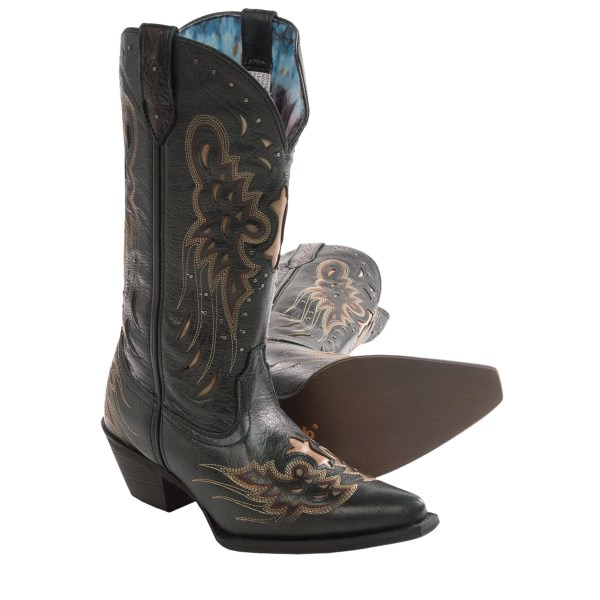 CLOSEOUTS . Laredoand#39;s Wild Angels cowboy boots are the boots of choice for earthbound free-spirits who love to kick up their heels. A host of heavenly details adorn this leather boot: cutouts on the vamp and heel counter, as well as a slew of over-the-top, wing-inspired details give the Wild Angels plenty of flair. Available Colors: BLACK, TAN. Sizes: 6, 6.5, 7, 7.5, 8, 8.5, 9, 9.5, 10.
