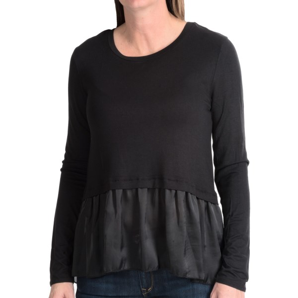 Dylan Satin And Knit Crop Top - Long Sleeve  (for Women)