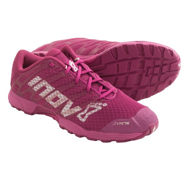 CLOSEOUTS . Ideal for cross training, gym workouts and running on hard-packed terrain, Inov-8and#39;s F-Lite 240 running shoes offer reinforced support zones, a 6mm drop and an outsole with large contact area. Available Colors: GRAPE/BERRY. Sizes: 5.5, 6, 6.5, 7, 7.5, 8, 8.5, 9, 9.5, 10, 10.5, 11.