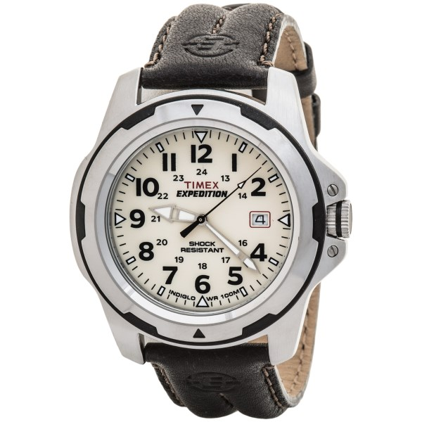 CLOSEOUTS . Timexand#39;s Expedition Rugged field watch gets its classic good looks from the convergence of its high-polish stainless rim with a beautiful leather band and easy-to-read face in bright white. Engineered for better-than-average shock resistance, this watch goes wherever your active life takes you. Available Colors: WHITE/BROWN.