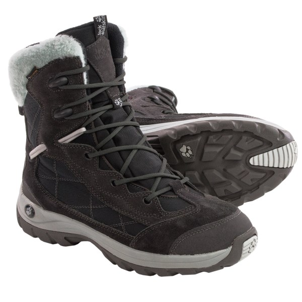 CLOSEOUTS . Head off-road with confidence during the winter months with Jack Wolfskinand#39;s Icy Park Texapore snow boots. 200g Thinsulateand#174; and complete waterproof protection are paired with a winter hiking outsole for exceptional weather protection, warmth and traction. Available Colors: MOCHA, DARK STEEL. Sizes: 3, 3.5, 4, 4.5, 5, 5.5, 6, 6.5, 7, 7.5, 8, 8.5, 9.