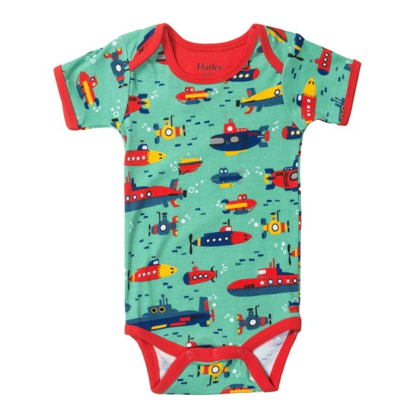 CLOSEOUTS . Bold print and vibrant colors adorn the soft-knit cotton of Hatleyand#39;s printed baby bodysuit, a parent go-to thatand#39;s sure to last through many sleeps, spit-ups and messy high-chair sessions. Available Colors: HEARTS andamp; HORSES, FUN FISH, ROBOTS, SUBMARINES, TREASURE ISLAND. Sizes: 3/6M, 6/12M, 12/18M, 18/24M.