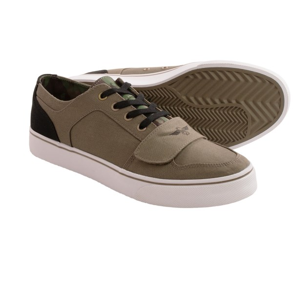 CLOSEOUTS . The Creative Recreation Cesario XVI sneakers blend the lace and touch-fasten systems with a classic skate shoe style. Wear these faux-snakeskin sneaks for casual or active occasions, and youand#39;ll always have style and performance to spare. Available Colors: BLACK SNAKE PATTERN LEATHER, MILITARY CAMO 1 CANVAS, MILITARY CAMO 2 CANVAS, GREY/RED CANVAS, BLACK/WHITE LEATHER, WHITE/NAVY MESH/LEATHER. Sizes: 7, 7.5, 8, 8.5, 9, 9.5, 10, 10.5, 11, 11.5, 12, 13, 14, 15.