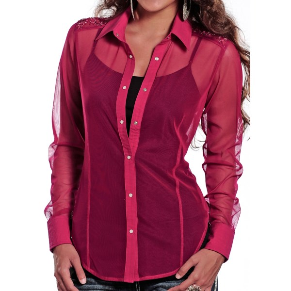 Rock And Roll Cowgirl Sequined Tulle Western Shirt - Snap Front, Long Sleeve (for Women)