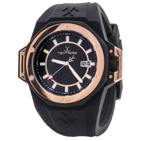 CLOSEOUTS . Exquisite in its sleek simplicity, the Toy Watch Toystrong watch is a stunning display of visual texture with simple analog read-out and contemporary date window. Case approximately 1-1/2andquot; across. Available Colors: BLACK/SILVER/BLACK, BLACK/ROSE GOLD/BLACK.