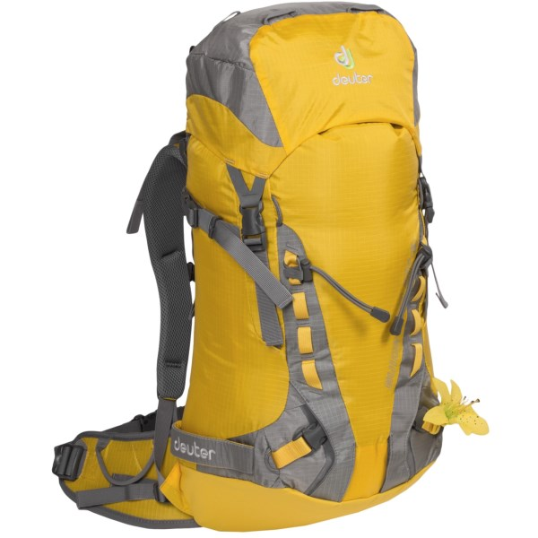 CLOSEOUTS . Lead the way up the mountain, so you can be the first one cutting tracks on the way down. The Deuter Guide Lite 28  SL backpack can fit all your ascent and descent gear, keeping everything easily accessible on the various exterior lashing points and straps. Available Colors: LEMON/PLATIN.