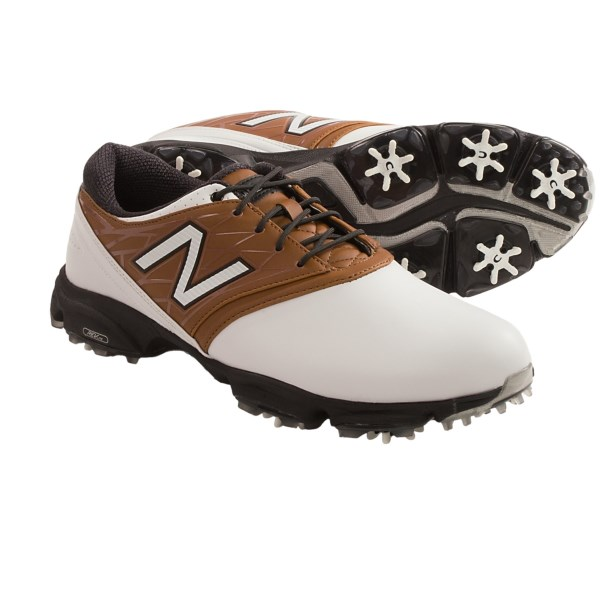 CLOSEOUTS . Get the most out of every swing with New Balanceand#39;s 2001 golf shoes, featuring a REVliteand#174; midsole for lightweight, responsive cushioning and Champand#174; ONE-Lokand#174; cleats that deliver incredible traction and ground contact. Available Colors: BLACK, WHITE/BROWN. Sizes: 8, 8.5, 9, 9.5, 10, 10.5, 11, 11.5, 12, 13, 14.