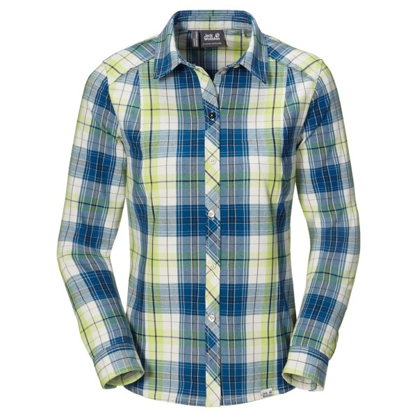 CLOSEOUTS . Sturdy enough to take on rugged backcountry trails and stylish enough for a night out with friends, Jack Wolfskinand#39;s South River shirt is designed to wick moisture, dry quickly and keep you comfortable, wherever your adventurous spirit happens to lead you. Available Colors: CLASSIC BLUE CHECKS, GOLDEN YELLOW CHECKS, INDIAN RED CHECKS. Sizes: XS, S, M, L, XL.