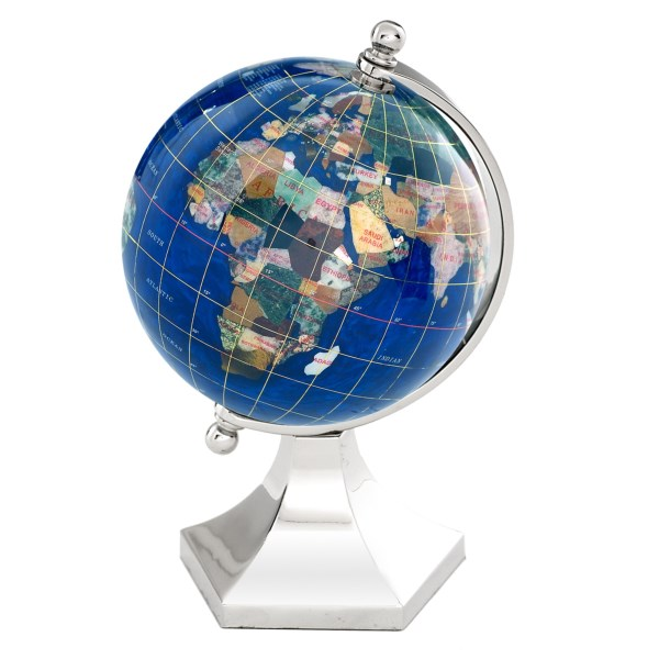 Overstock . A fine gift for a worldly friend and a beautiful addition to a classroom or study, Alexander Kalifanoand#39;s Gemstone Contempo globe is hand-carved from the highest quality jewelry-grade gemstones. Whenever possible, a country is represented by an indigenous gemstone. Available Colors: CARIBBEAN BLUE / SILVER STAND, MARINE BLUE / SILVER STAND.