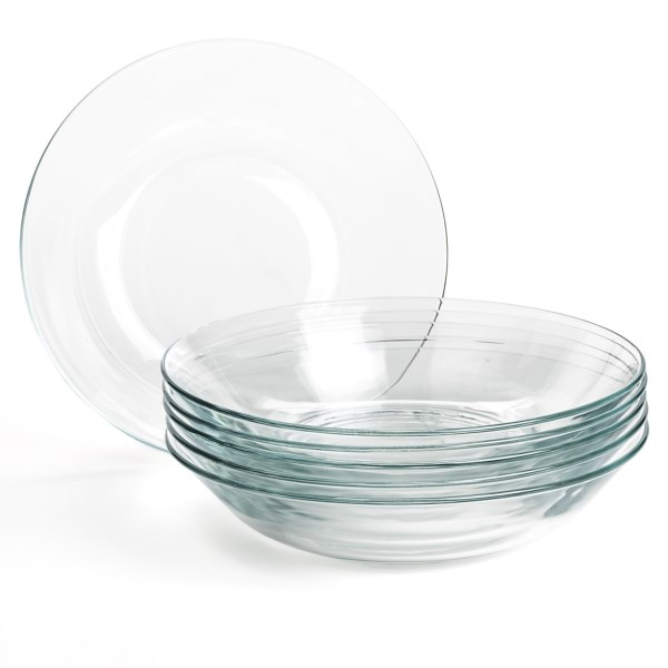 CLOSEOUTS . Youand#39;ll love the beauty and simplicity of these clear glass bowls, whether serving cold greens or a piping hot stew. Duralexand#39;s Lys Calotte plates are made in France from durable tempered glass. Available Colors: CLEAR.