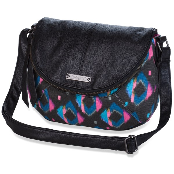 CLOSEOUTS . Surprisingly capacious given its size, DaKineand#39;s Eleanor crossbody bag is expressively designed and comes with a fold-over flap pocket and interior organizer pockets. Crafted from cotton, jute and vinyl. Available Colors: BLACK, KAMALI, LUX.