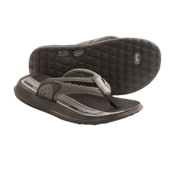 CLOSEOUTS . With their grippy rubber outsole and cushioned, nubby footbed, Body Gloveand#39;s Cruise II flip-flops are ready for fun in or out of the water. Available Colors: GREY/BLACK. Sizes: 11, 12, 13, 1, 2, 3.