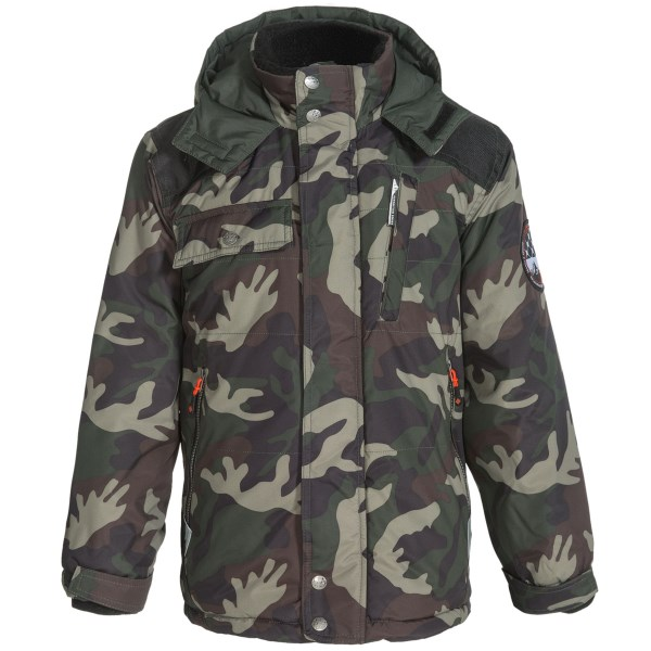 CLOSEOUTS . No matter the location of todayand#39;s expedition, heand#39;ll be warm as can be in this Big Chill Expedition Series jacket -- lined with soft, plush fleece and filled with low-bulk insulation. Available Colors: BLACK, CAMOUFLAGE, TRUE NAVY, YARN DYED. Sizes: 8, 10/12, 14/16, 18.