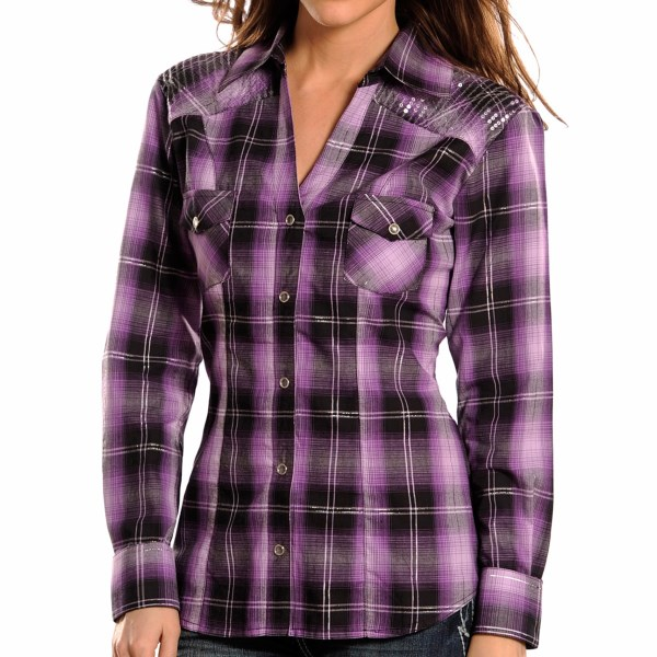 Panhandle Slim Ombre Plaid And Sequins Western Shirt - Snap Front, Long Sleeve (for Women)