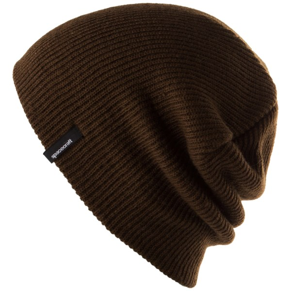 CLOSEOUTS . Spacecraft Collectiveand#39;s Offender beanie is a classically comfy slouch style, done up in flexible, supersoft acrylic. Available Colors: DARK BROWN, LIGHT GREY, MOSS, MUSTARD, WAXED TAN. Sizes: O/S.