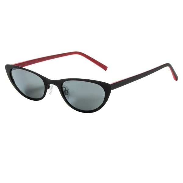 CLOSEOUTS . With a sleek narrow cat-eye frame, the Reptile Siren sunglasses simulate a sense of nostalgia with sass. They also keep your eyes safe behind the AMP multi-layer lens system, filtering out all UVA, UVB and high-energy visible light. Available Colors: BLACK RED/GREY, RED BLACK/FIRE(ROSE).