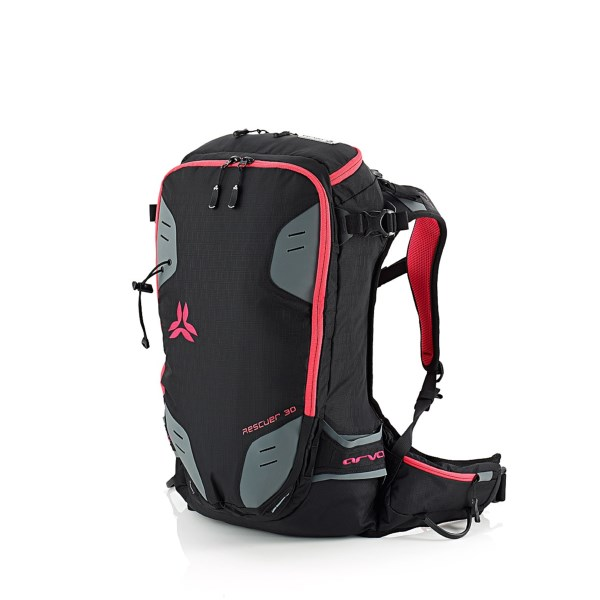 CLOSEOUTS . The Arva Rescuer 30L ski pack holds all the mountaineering essentials in one conveniently organized package. It carries ice axes, skis, snow shovels, a helmet, crampons and rope in a series of categorized pockets and sleeves to make the backcountry experience that much more enjoyable. Available Colors: BLACK/PINK, GREY/PURPLE, BLUE/PINK.