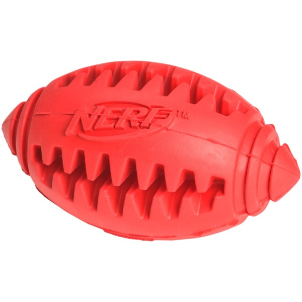 CLOSEOUTS . Perfect for interactive fetch and retrieve, and moderate idle chewing, the Nerf Dog Teether football is made from durable rubber. Not only does it keep your pet busy for hours trying to dislodge the treat youand#39;ve hidden on the inside, but it cleans his teeth on the side. Available Colors: RED, BLUE.