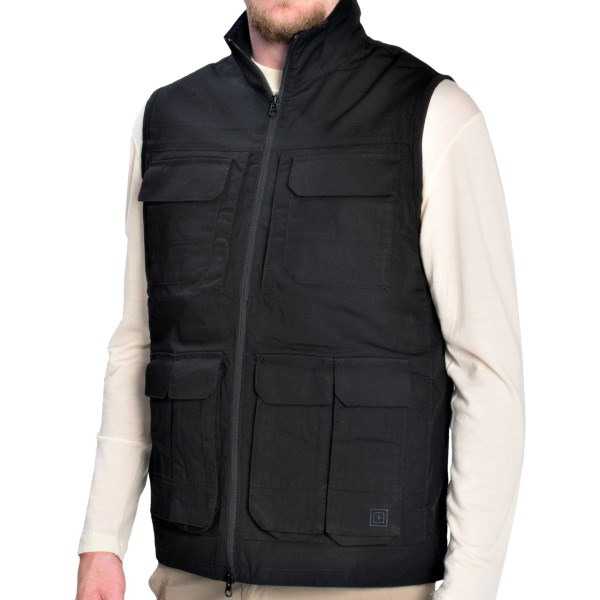 CLOSEOUTS . The 5.11 Tactical Range vest is rugged and smartly designed for a day of shooting. Taclite ripstop fabric has a Teflonand#174; water-repellent finish and four magazine pockets, and a rear lumbar pocket keeps supplies close at hand. Available Colors: TDU KHAKI, BLACK, BATTLE BROWN. Sizes: M, XL, 2XL, 3XL, L, S.