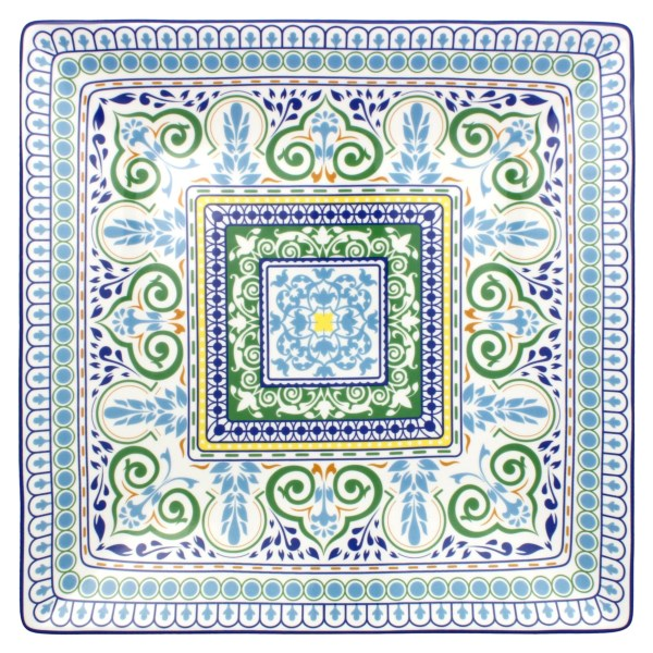 Overstock . Modeled after the Azulejo pattern, a Portuguese art tradition found in churches and palaces and also modern-day schools and plazas, this R Squared Algarve serving tray is beautifully made from hand-painted ceramic. Available Colors: MULTI COLORED.
