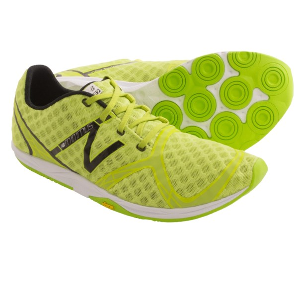CLOSEOUTS . Half racing flat; half minimalist trainer. New Balanceand#39;s MR00 Minimus running shoes are designed for advanced runners desiring an ultralight, andquot;barely thereandquot; experience and can be worn with or without socks. Available Colors: FLUORESCENT LIME/BLACK, RED/YELLOW, BLACK/BLUE. Sizes: 7, 7.5, 8, 8.5, 9, 9.5, 10, 10.5, 11, 11.5, 12, 12.5, 13, 14.