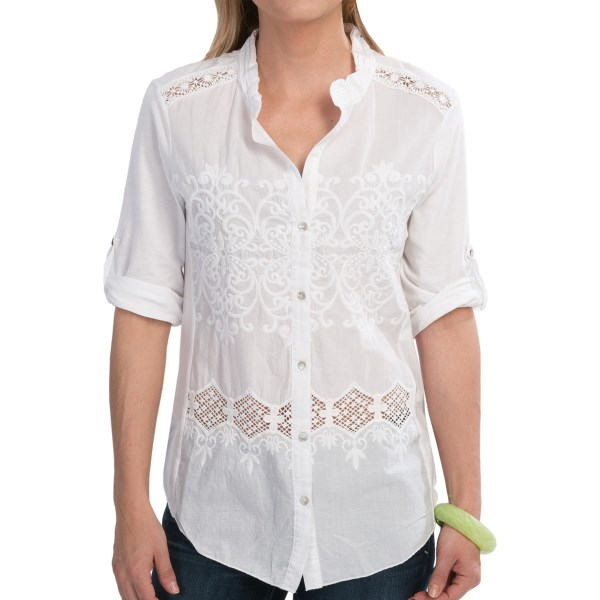 Dylan Embroidered Combo Shirt - Long Sleeve (For Women)