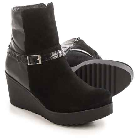 Eric Michael Evelyn Wedge Ankle Boots - Leather (For Women) in Black - Closeouts