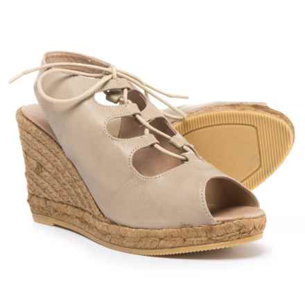 Eric Michael Gossip Wedge Sandals - Leather (For Women) in Beige - Closeouts
