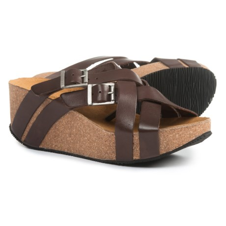 Eric Michael Joan Wedge Sandals - Leather (For Women) in Mocha