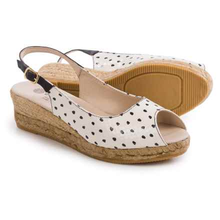 Eric Michael Kate Wedge Sandals - Leather (For Women) in Dots - Closeouts