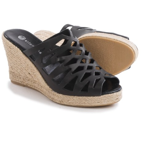 Eric Michael Madrid Wedge Sandals Leather Slip Ons Wedge Heel For Women