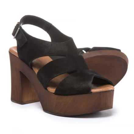 Eric Michael Sienna Platform Sandals - Suede (For Women) in Black - Closeouts