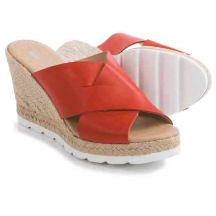 Eric Michael Valencia Wedge Sandals - Leather, Wedge Heel (For Women) in Red - Closeouts