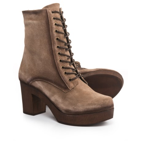 Eric Michael Victoria Lace-Up Boots - Suede (For Women) in Taupe