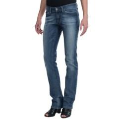 Escada Sport 4-Pocket Washed Denim Jeans - Low Rise, Straight Leg (For Women) in Blue Wash