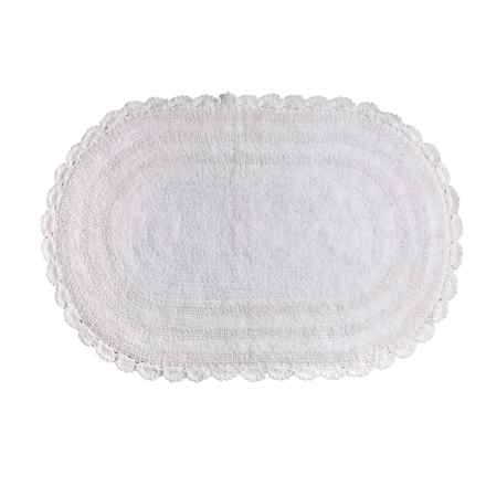 "Espalma Crochet Bath Rug - Reversible, 21x34"" in White - Closeouts"